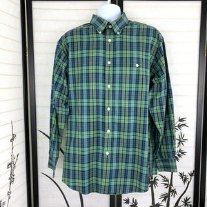 Orvis Button Down Cotton Shirt Sz L Plaid Green